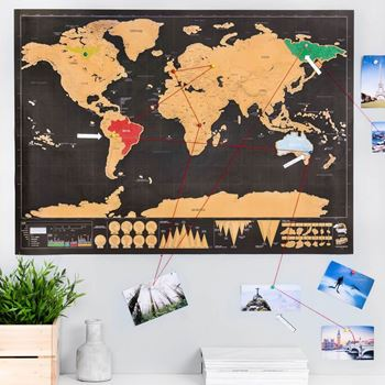 Obrázek Stírací mapa světa deluxe - černá