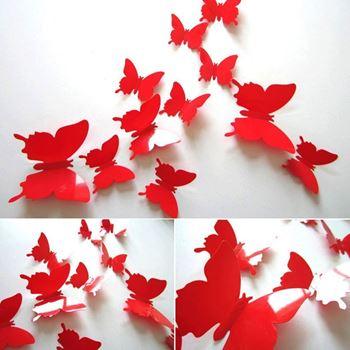 Obrázek 3D motýlci na zeď - červená