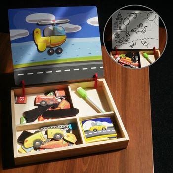 Obrázek Dřevěná magnetická tabulka deluxe - Dopravní prostředky