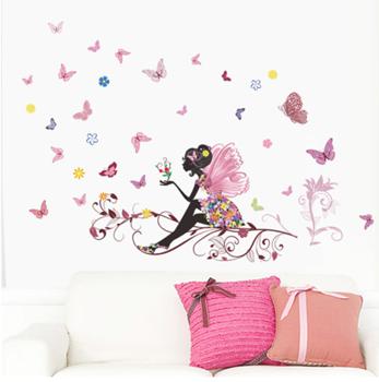 Obrázek Samolepka na zeď - víla s motýlky