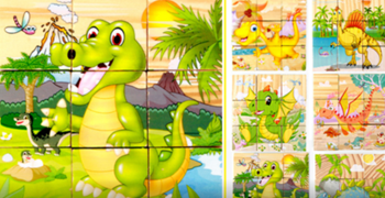 Obrázek Dřevěné obrázkové kostky - dinosauři