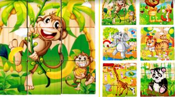Obrázek Dřevěné obrázkové kostky - safari