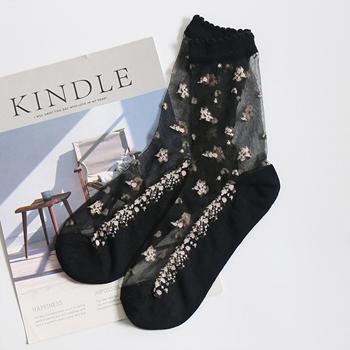 Obrázek Průhledné ponožky s květy - černé