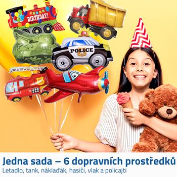 Obrázek Fóliové balónky - dopravní prostředky 6ks