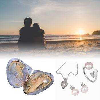 Obrázek Perla přání v perlorodce s náušnicemi a prstýnkem