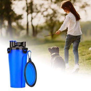 Obrázek Cestovní láhev na vodu a krmivo - modrá