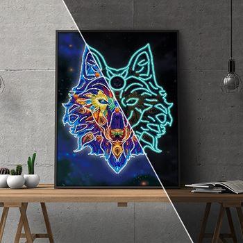 Obrázek Diamantové malování svítící ve tmě - vlk