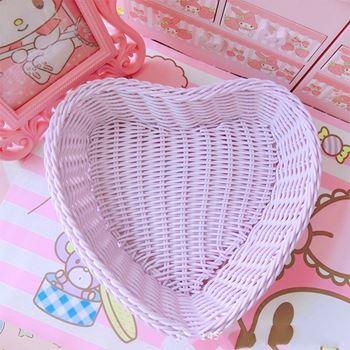 Obrázek Plastový košík - fialové srdce