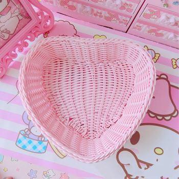 Obrázek Plastový košík - růžové srdce